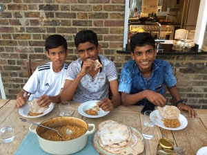 QPR South Mumbai Soccer Challenge winners eating dinner